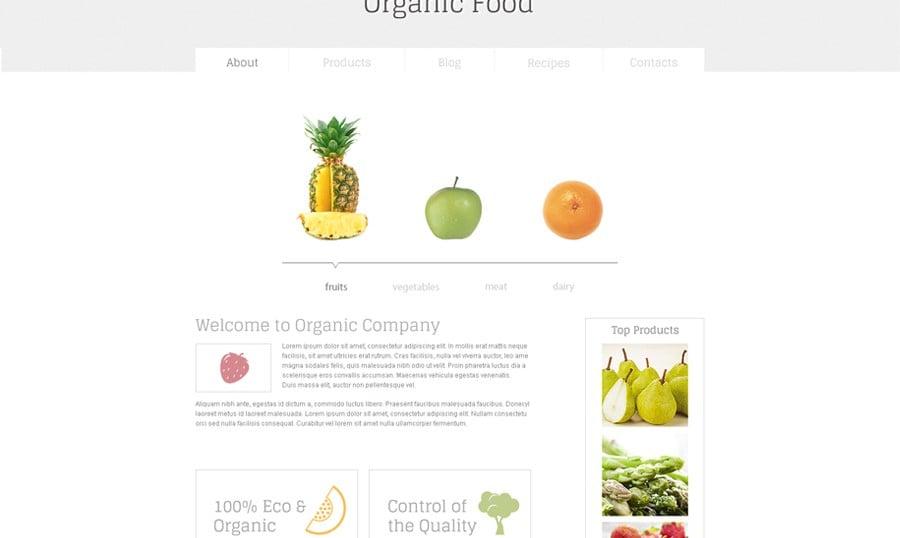 Neu in der Freebies Sammlung – Minimalistische HTML5 Vorlage für Lebensmittel Website
