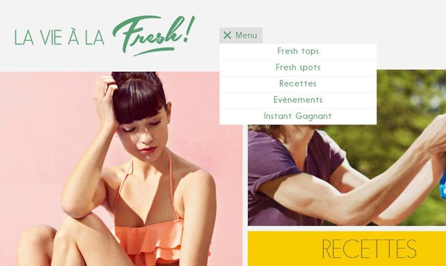 Web Designs mit Fixed-Header. Es wurde keinen Kleber genutzt