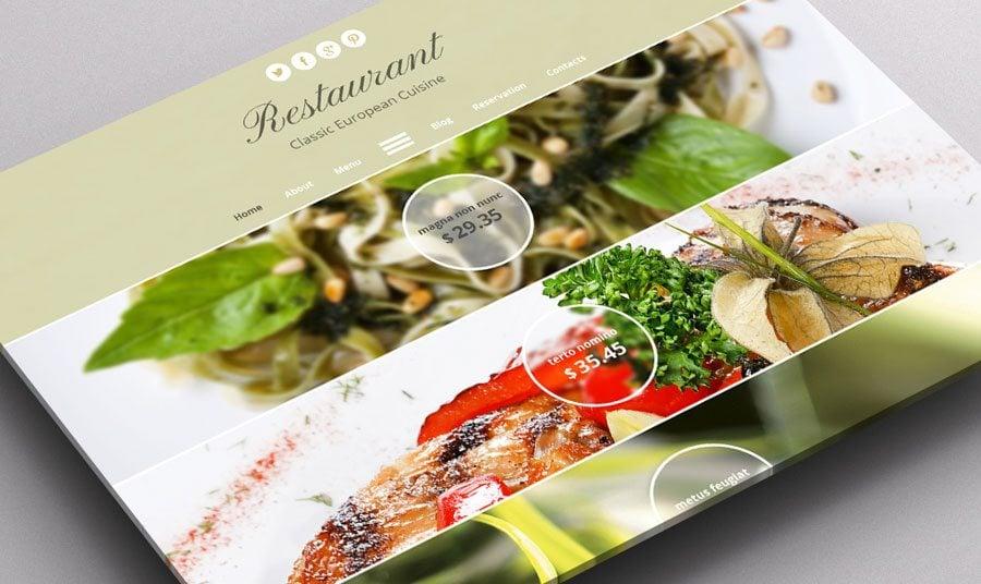 Skandinavischer Schick im Gratis HTML Theme für Restaurant-Website