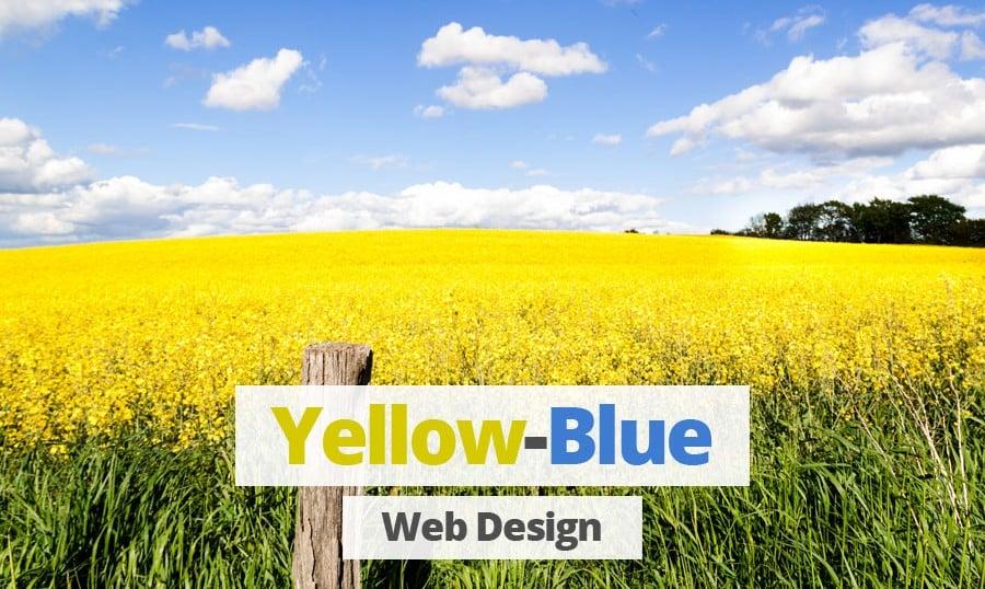 Gelb-Blaue Farben im Design von modernen Websites