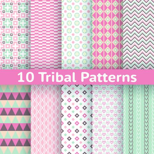 Beautiful decorative pattern seamless vector set