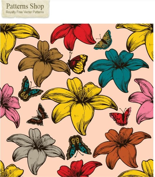 Free flowers and butterflies vector seamless pattern