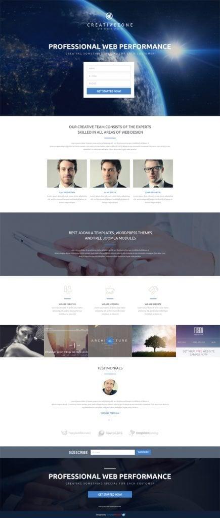 Kostenloses landing page template f r ein designstudio for Free landing page templates for wordpress
