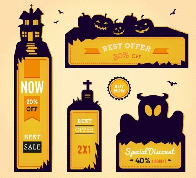 Sammlung von Halloween-Bannern