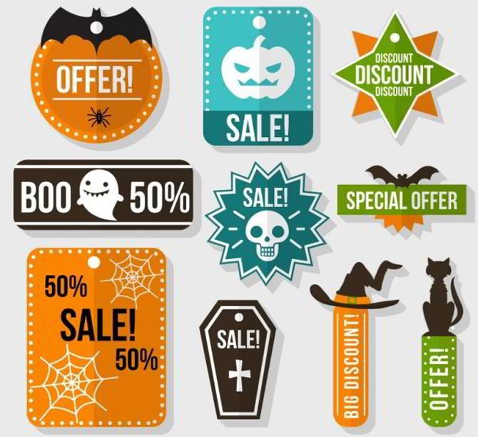 Sammlung von Halloween-Verkauf-Etiketten