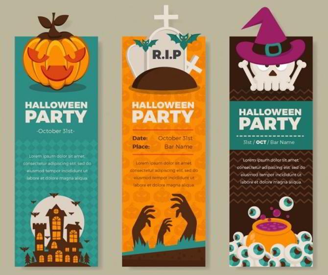 Bunte Halloween-Party-Banner