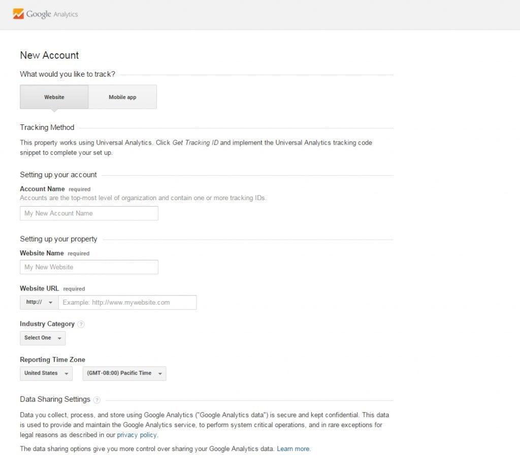 Google Analytics Neues Konto