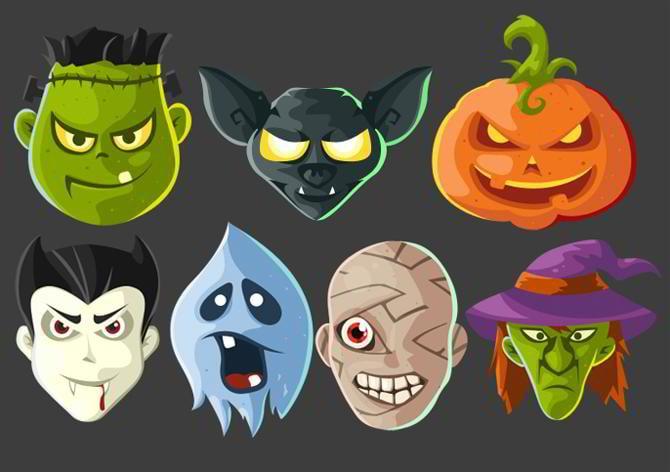 Halloween-Kopf-Icons