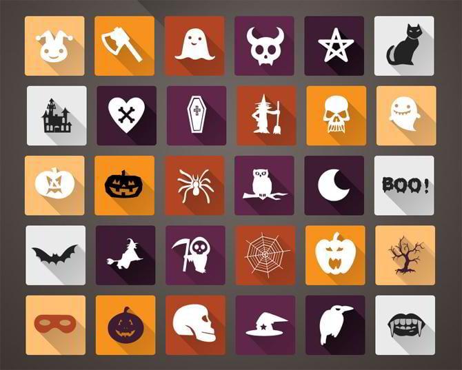 Halloween-lange-Schatten-Flache-Icons