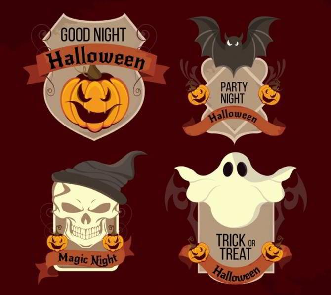Halloween-Nacht-Etiketten