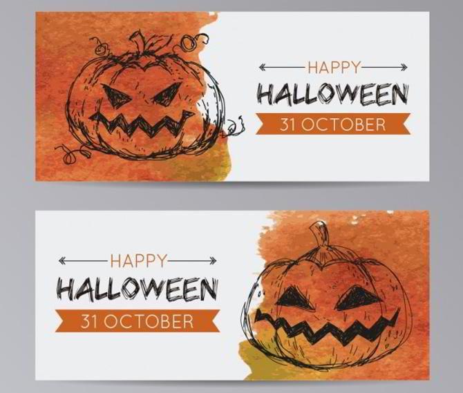 Halloween-Kürbis-Banner-Vorlagen