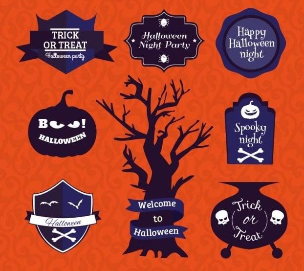 Halloween-Symbole-Abzeichen-Set