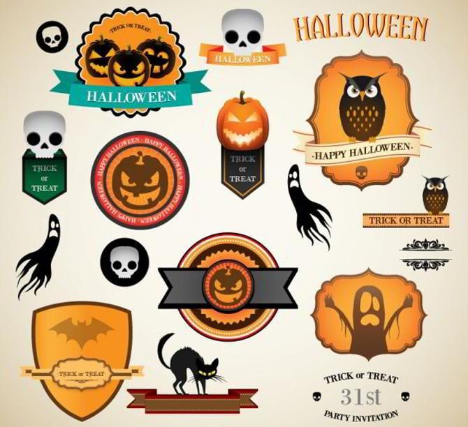 Halloween-Vintage-Vektor-Etiketten