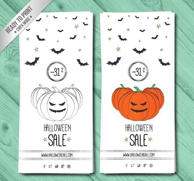 Hand gezeichnete Halloween-Verkauf-Banner
