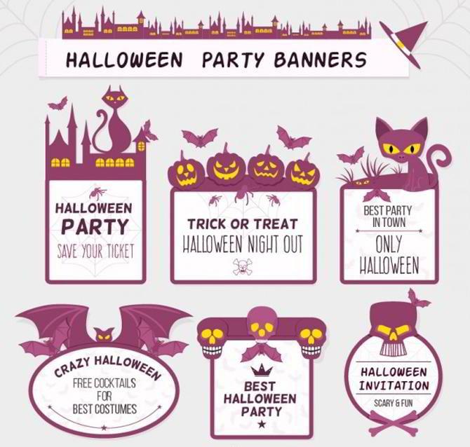 Lila Halloween Etiketten