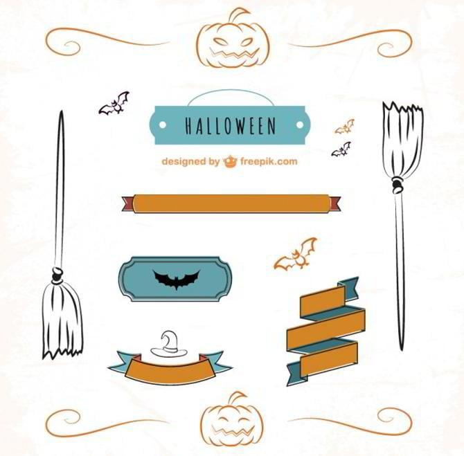 Halloween-Set von Schleifen und Etiketten