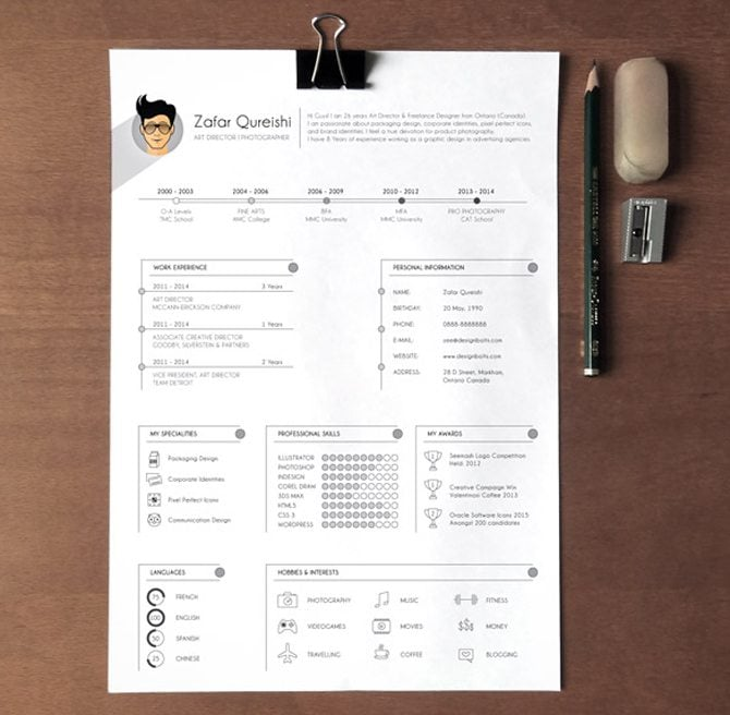 30 kreative kostenlose druckbare Lebenslauf-Vorlagen