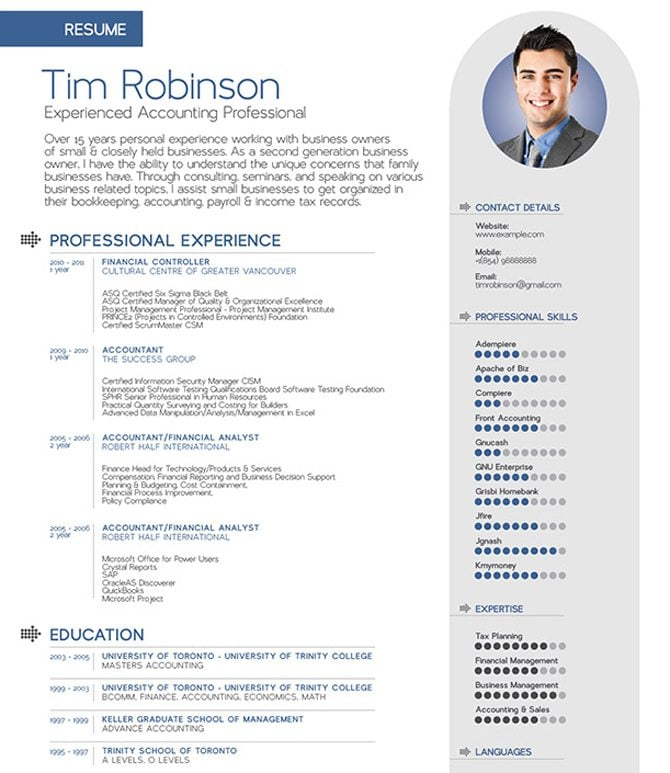 Resume forms and web design