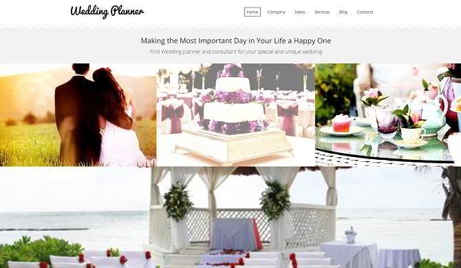 Responsive Moto CMS 3 Template für Hochzeitsplaner