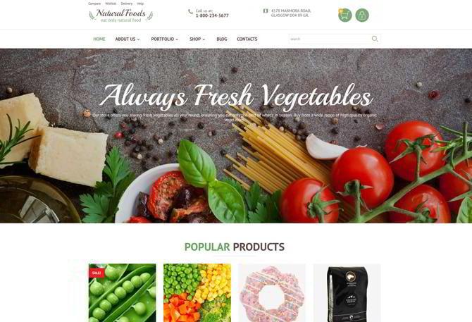 Template für gesunde Produkte