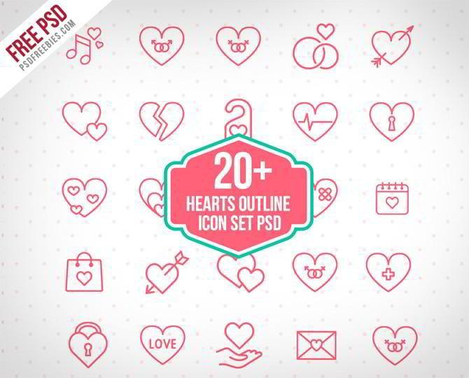 20 Herzen PSD Freebies