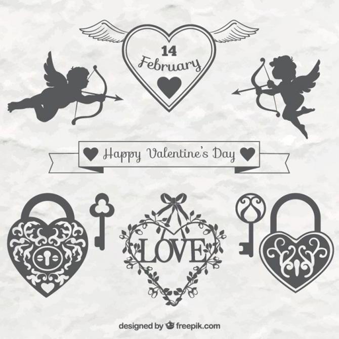 Elegante schmückende Ornamente zum Valentinstag