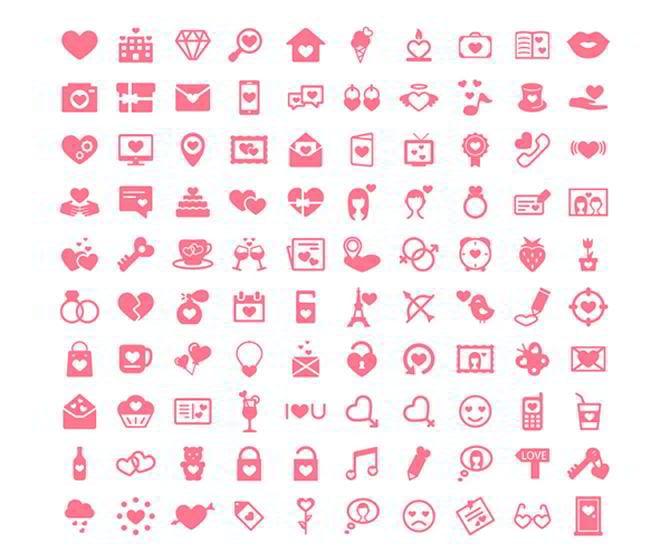 Kostenlose icons zum Valentinstag