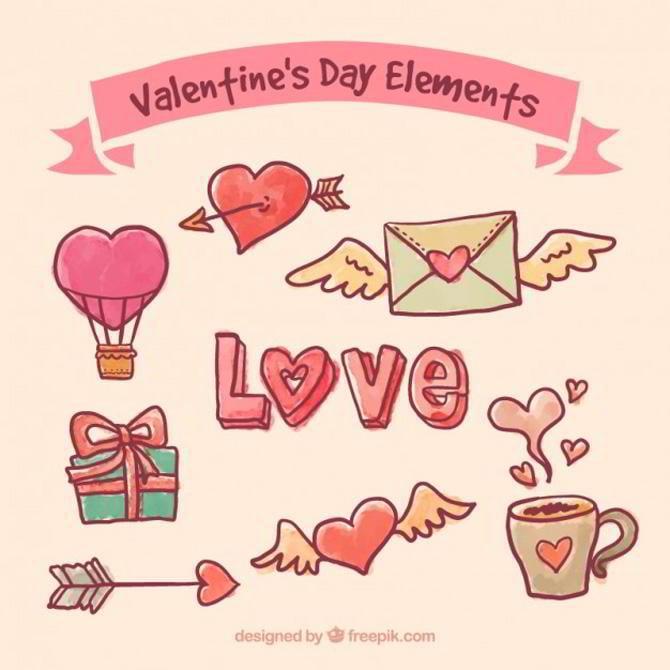 Handgezeichnete Elemente zum Valentinstag