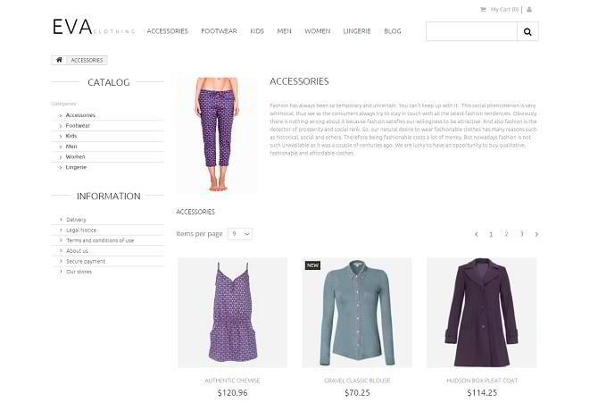 Homepage-Vorlage für Kleidungsgeschäft