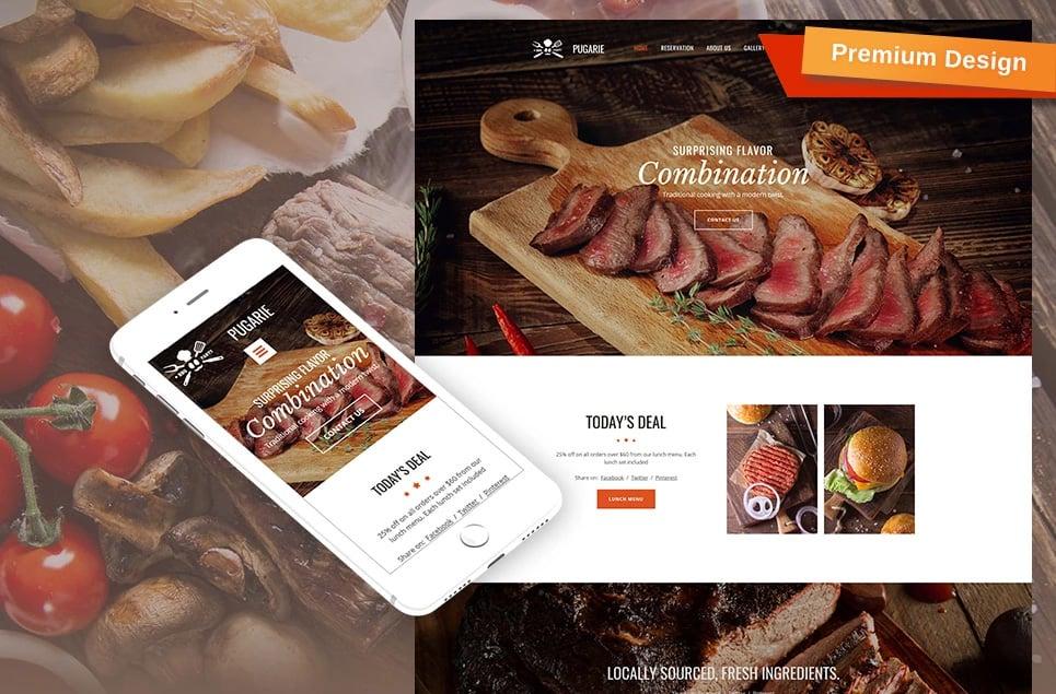 Responsives Moto CMS 3 Template für BBQ Restaurant