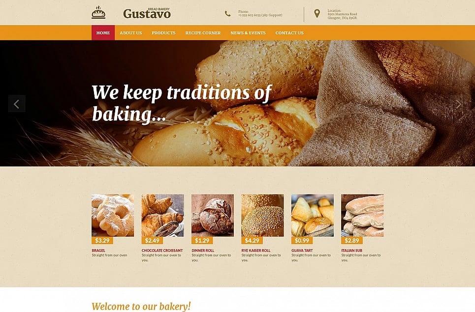 Responsives Moto CMS 3 Template für Bäckerei Gustavo