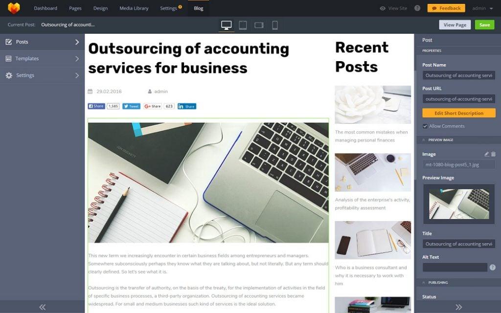 Skyline Business Website und ihre Blog Funktionalität