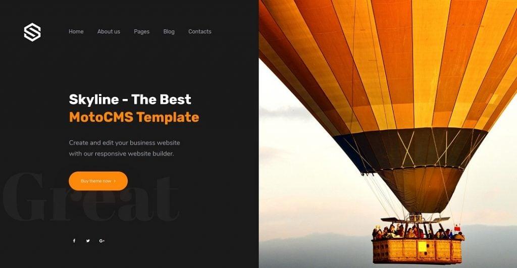 Skyline Business Website - eine Startseite mit schwarzem Hintergrund