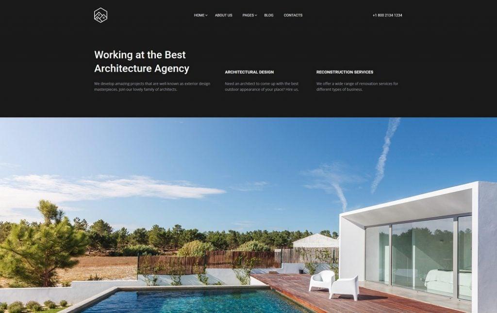 Skyline Business Website - die dritte Startseite für Hausbau