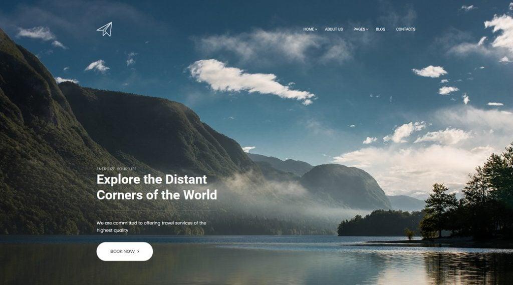Skyline Business Website die vierte Startseite für Reisebüro