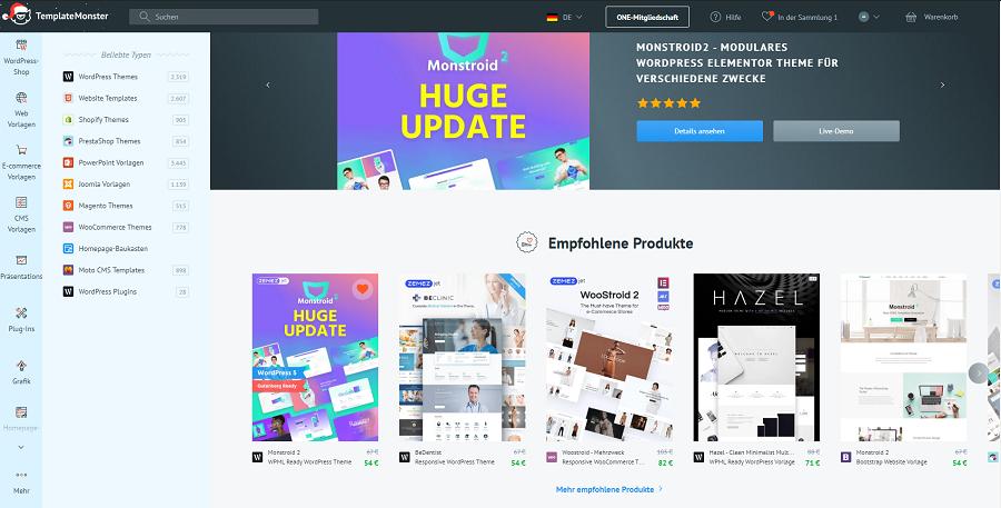 templatemonster marktplatz premium wordpress vorlagen