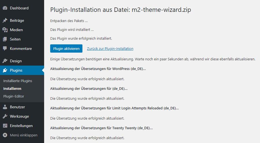 plugin installation theme wizard