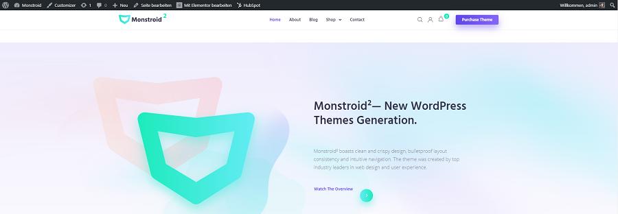 monstroid2 erste blick auf eigene webseite