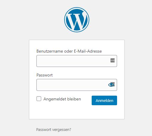 wordpress dashboard anmelden