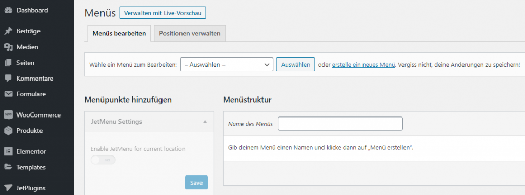 wordpress dashboard menü verwalten