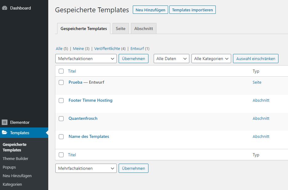 elementor wordpress dashboard templates