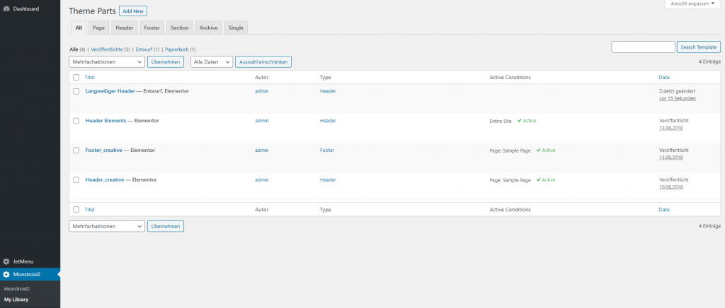 wordpress dashboard monstroid2 my library theme parts