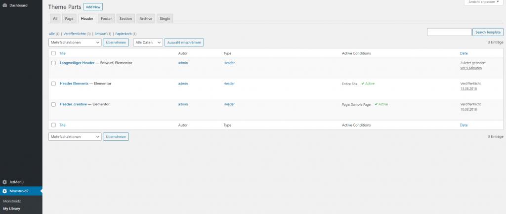 wordpress dashboard monstroid2 my library theme parts header