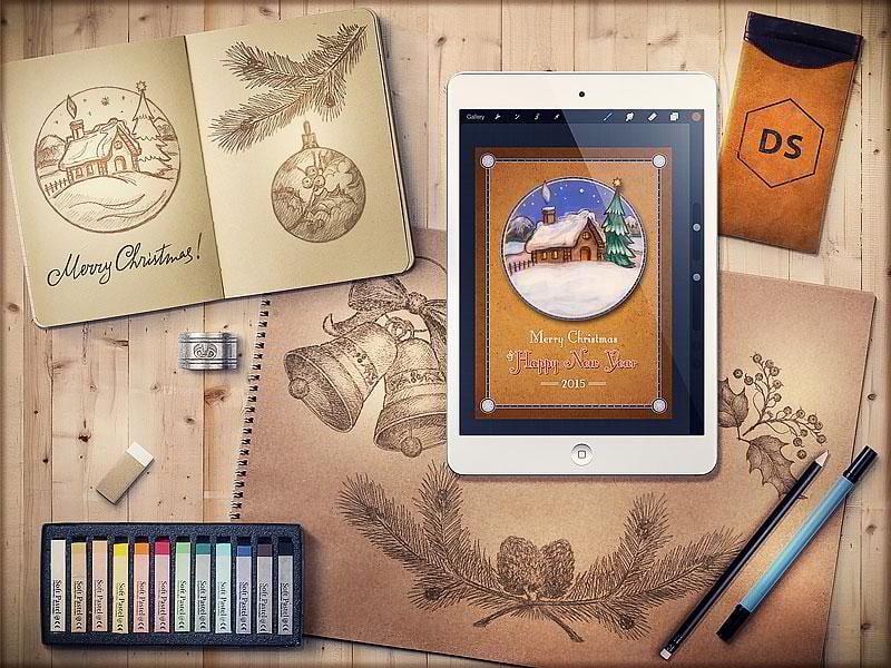 Free-Hand-Drawn-Retro-Christmas-Postcard-by-Digital-Space