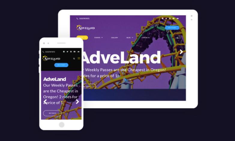 Adveland - tema WordPress gratis para sitio de parque de atracciones