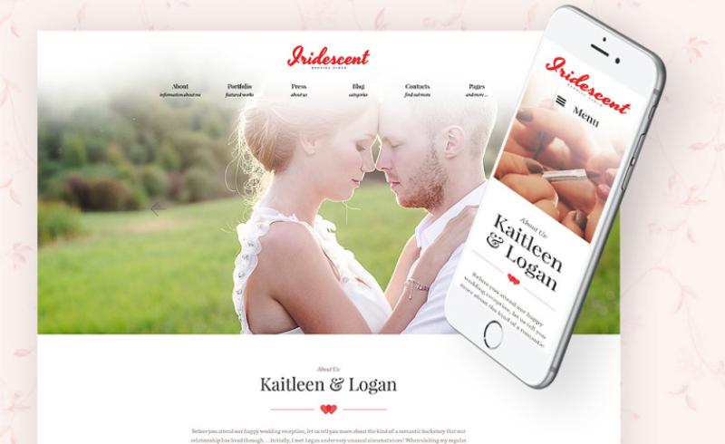 Iridescent - Tema WordPress gratis para álbum de boda