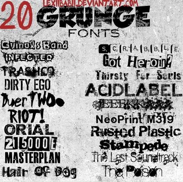 20 fuentes grunge