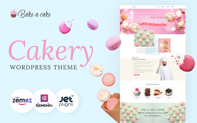 Bake-a-cake - Tema Elementor de Cakery para WordPress.