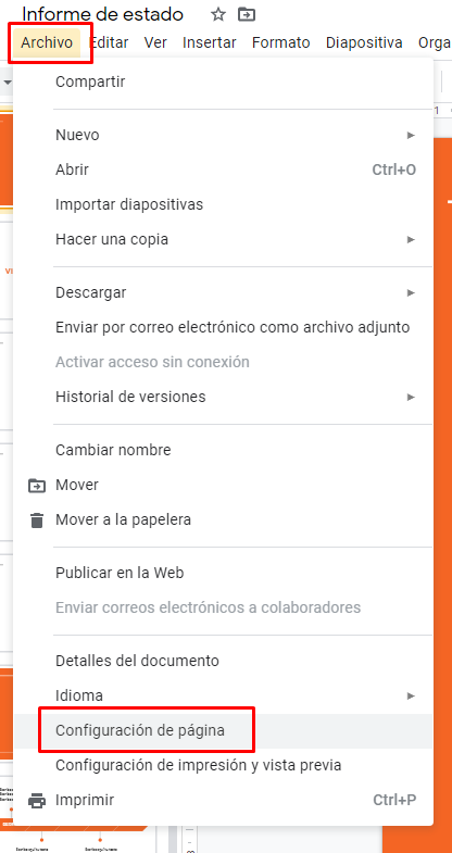 configuracion de pagina en google slides