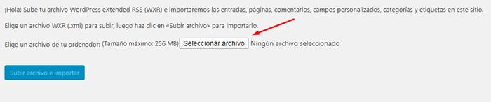 seleccionar archivo para importar